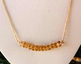 Citrine Bar Necklace, November Birthstone, Minimalist, Dainty Necklace, Delicate, Yellow Citrine, Sunshine Citrine, Gemstone Bar Necklace