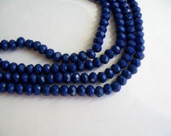 120 4x3mm indigo blue faceted glass beads