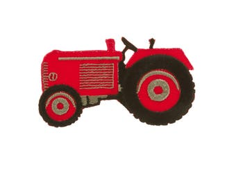 Red Tractor Iron On Applique, Red Tractor Iron On Patch, Tractor Applique, Boys Patch, Fun Patch, Kids Patch, Embroidered Patch