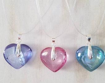 Tanzine Aura Purple Quartz, Aqua Aura Blue Quartz and Rose Aura Pink Quartz Crystal Heart Necklace with 24 inch silver cord.