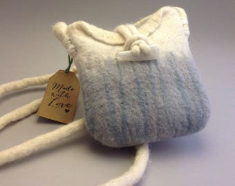 Bag, Small Wet felt crossbody bag in soft grey and cream with teal accent