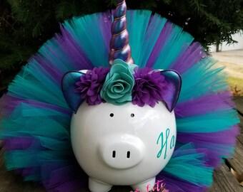 Teal and Purple Unicorn Tutu Piggy Bank, Unicorn Tutu Piggy Bank, Unicorn Gift, Unicorn Room Decor, Unicorn Party Decor,  Girls Piggy Bank