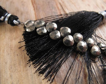 "Pyrite Hearts 8"" Full Strand, Pyrite Briolettes, 8 Inch Strand of 5mm Heart Beads (B-Py1a)"