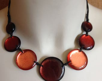 Necklace - large and flat discs beaded necklace great chunky costume jewellery
