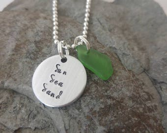 Sea glass necklace, hand stamped necklace, Sun sea sand necklace