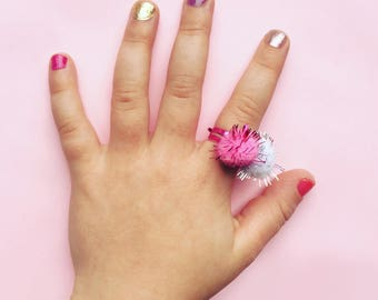 Pink Glitter Ring - Pom Pom Ring - Children's Jewelery - Party Bag Gift - Adjustable Ring - Girls Ring - Costume Ring Jewellery