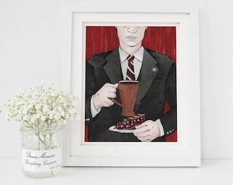 "8"" × 10"" Agent Cooper Twin Peaks Fine Art Paper Giclee Print"