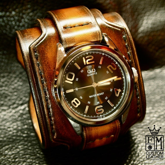 Leather cuff watch Brown Tobacco sunburst wide layered Brown watch band cuff Bracelet  Handmade for YOU in New York by Freddie Matara