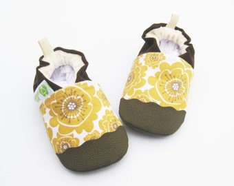 Organic Vegan Mumsy in Gold / non-slip soft sole baby shoes / made to order / babies toddlers preschool