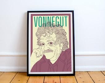 Vonnegut Print! Kurt Vonnegut Poster, slaughterhouse five, cats cradle, anti-war, mother night, breakfast of champions, sirens of titan