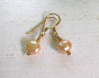 Pearl Earrings: Simple Wire-Wrapped Peach FWP Dangles w/14Kt GF Ear Hooks