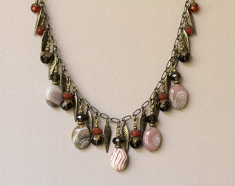 Chocolate Brown and Tan Banded Agate, Smokey Quartz, Carnelian and Antiqued Brass Dangle Adjustable Cord Necklace