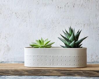 White Ceramic Planter, Large Succulent Planter, Modern Ceramic Planter,  White Indoor Planter,