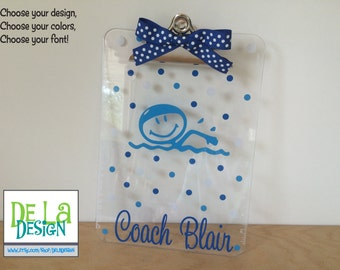 Coaches gift, Personalized with name clear acrylic clipboard, swimmer, swim coach, instructor, or other sport, great banquet gift