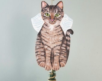 Cat Tree Topper - Tabby Cat Angel Tree Topper - Cat Christmas Tree Topper - Cat Memorial - Personalized Cat - Cat Decor