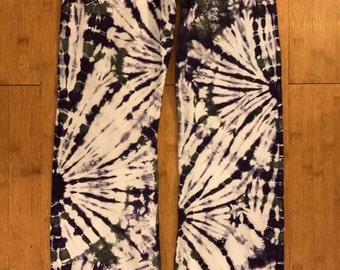 Tie Dye Yoga Pants! - Ultra Violet and Charcoal Grey