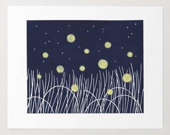 Modern Fireflies Block Print - Original, Nature, Landscape, Meadow, Summer, Lightning Bugs, Night