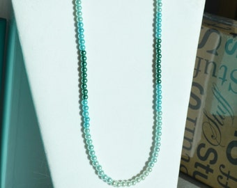Teal Ombre Glass Pearl Necklace/Bridesmaid Jewelery