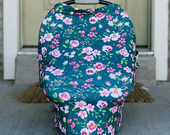 3-in-1 Stretchy Baby Nursing Cover, Car Seat Canopy, and Shopping Cart Cover (DARK FLORAL)