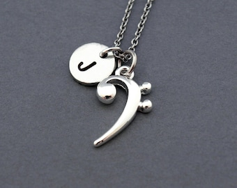 Bass clef charm etsy bass clef necklace silver bass clef charm necklace base clef music musician initial necklace personalized antique silver monogram aloadofball Choice Image
