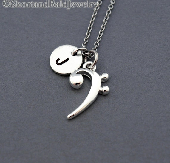Bass clef necklace silver bass clef charm necklace base aloadofball Images