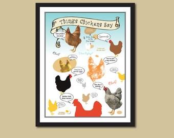Chicken Poster, Chicken Sayings, Chicken Print, Coop Accessory, Farm Decor, Hen Drawing, Barnyard Animal, Chicken Decor, 8 x 10 or 11 x 14