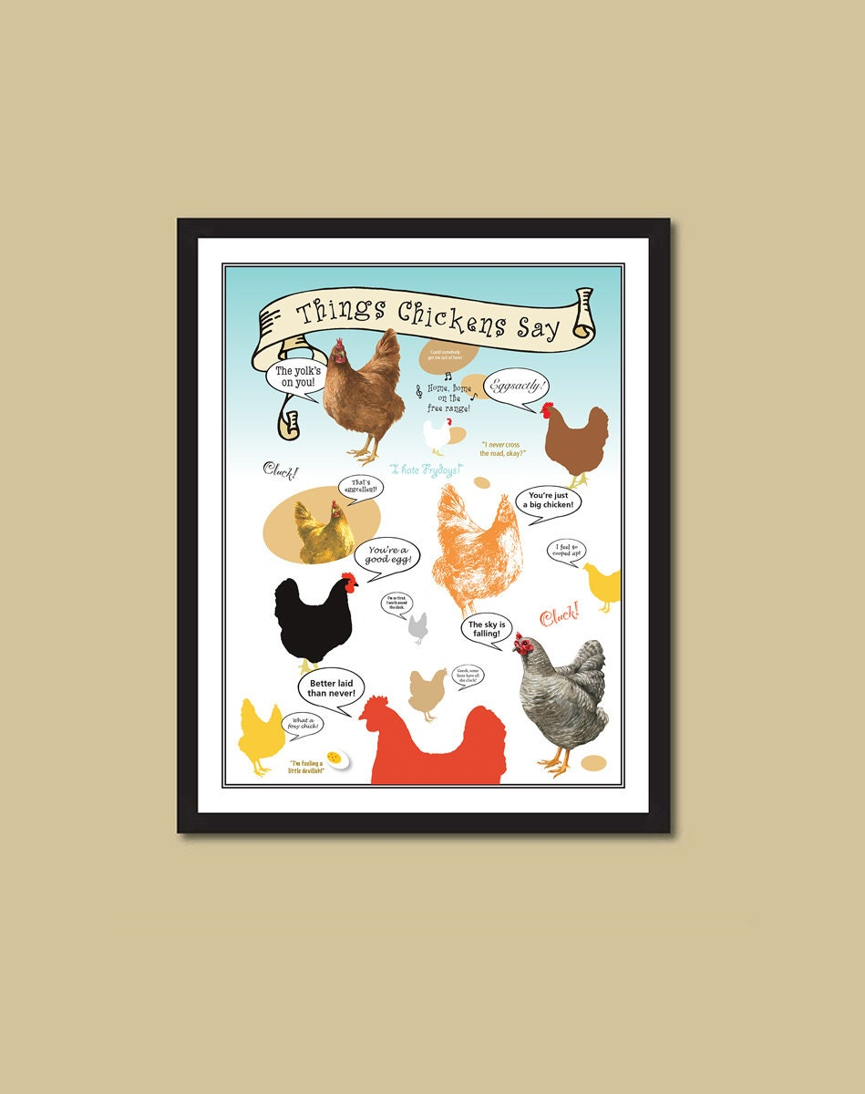 Chicken Poster Chicken Sayings Chicken Print Coop