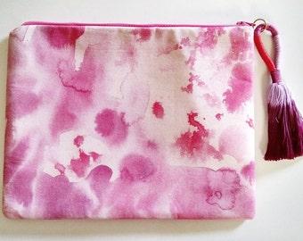 Inky Pink and Purple Tassel Purse