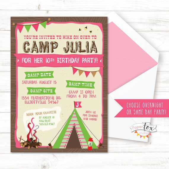 Camping birthday invitation glamping birthday party glamping like this item filmwisefo Choice Image