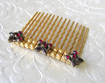 Garnet Red Rhinestone Hair Comb Antique Jewelry Upcycled Gold Hairpiece Valentines Wedding Bohemian Chic Bride Prom Formal Pageant Ballroom