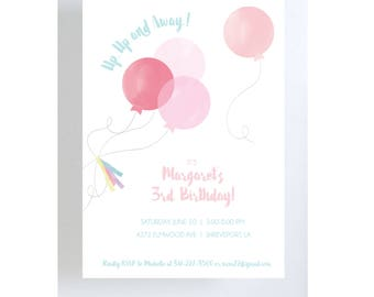 Pink Balloons Invitation//Birthday Party//Baby Shower