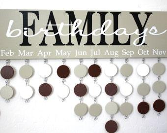 Family Birthday Board Custom Wood Sign - Family Celebrations Board - Family Birthday Calendar Custom Wooden Sign - BDB