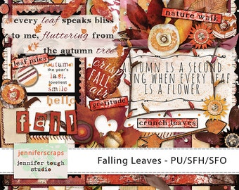 Instant Download - Falling Leaves - Full Digital Scrapbook Kit