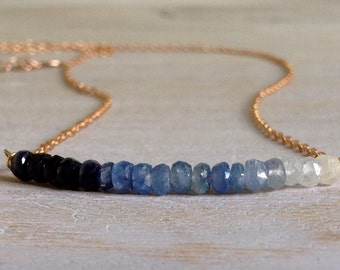 Rose Gold Chain Necklace, Sapphire blue Shaded, gold filled 14K gold, 925 silver plated