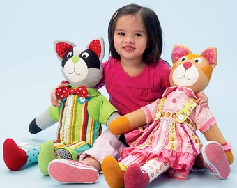 McCalls 6980, Learn To Raccoon and Cat Sewing pattern, Learn to use clothes fasteners with these toys. Out of Print