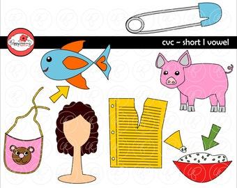 CVC ich kurze Vokal Clipart: digitales Bild eingestellt (300 dpi) Schule Lehrer ClipArt früh lesen Bild Alphabet