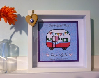 Personalised Framed Caravan print - Home is where you park it / love heart