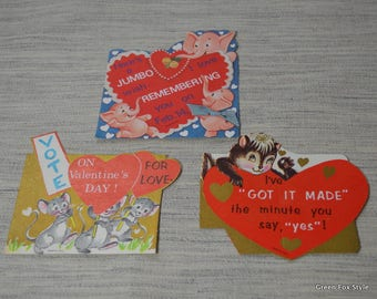 Three Unused Valentines from the 60's Pink Elephants, Skunk, and Mice for Love