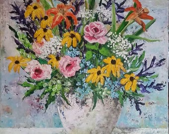 Original painting Textured Colorful floral still life 24x30 canvas FREE SHIPPING