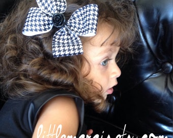 Houndstooth Headband Clip Bow Barrette with Rosette Detail
