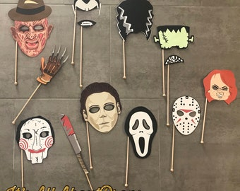 Halloween Horror Movies Photo Booth Props -- Halloween Photo Props -- Halloween Party Decorations
