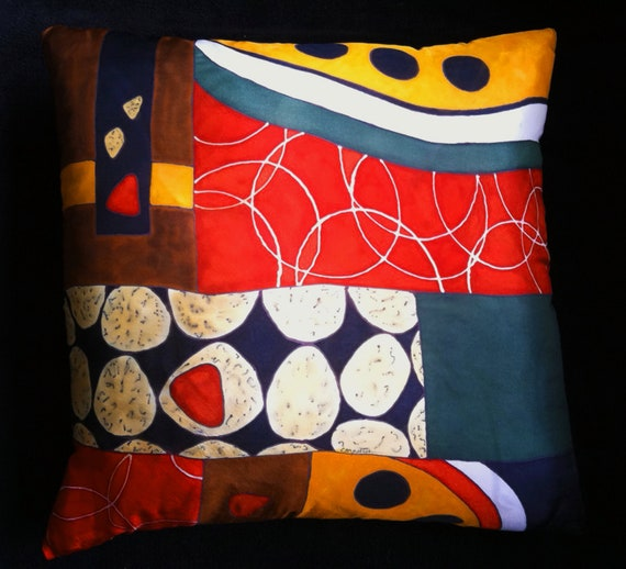 BACCI - Decorative Hand Painted Silk Pillow -- Made -to-Order