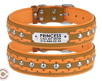 Personalized Leather Dog Collar Padded Studded Braided Light Brown Orange