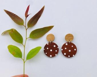 Dangle earrings, statement earrings, big earrings, wooden earrings, reclaimed wood, hand painted, surgical steel, earrings
