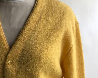 Vintage Men's Yellow Alpaca Wool Cardigan Sweater - Size M / Men's Alpaca Sweater