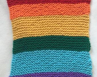 Handmade - Knitted Rainbow Baby Blanket