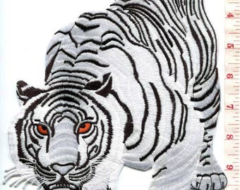 Bengal white tiger tattoo applique iron-on patch HUGE XL 7.25 X 11.25 in.