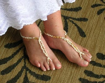 On Sale Barefoot Sandals With Seashells For Beach Wedding, Pool Party, Exotic Dancing AKA Foot Jewelry