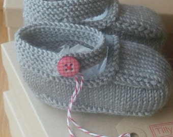 Hand knitted slate grey Mary-Jane baby shoes - 0-3, 3-6 and 6-9 months