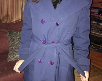 Vintage 1960s Bonders Brand Double Breasted Navy Trenchcoat